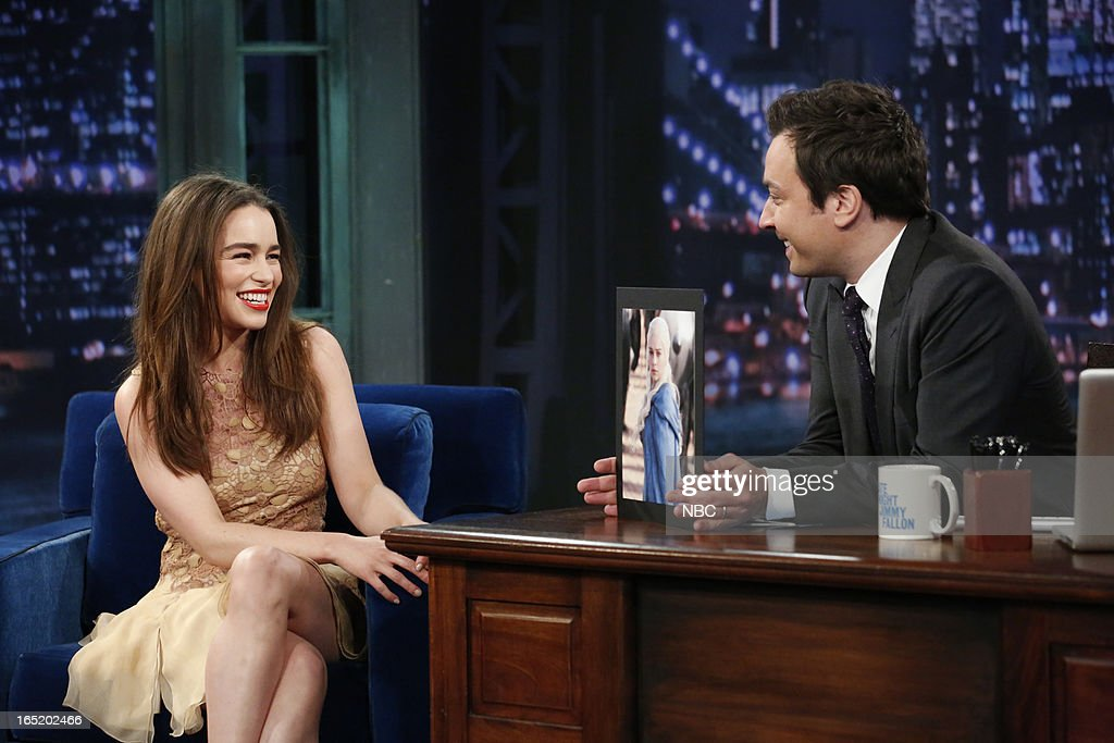 Actress Emilia Clarke with host Jimmy Fallon during an interview on April 1, 2013 --