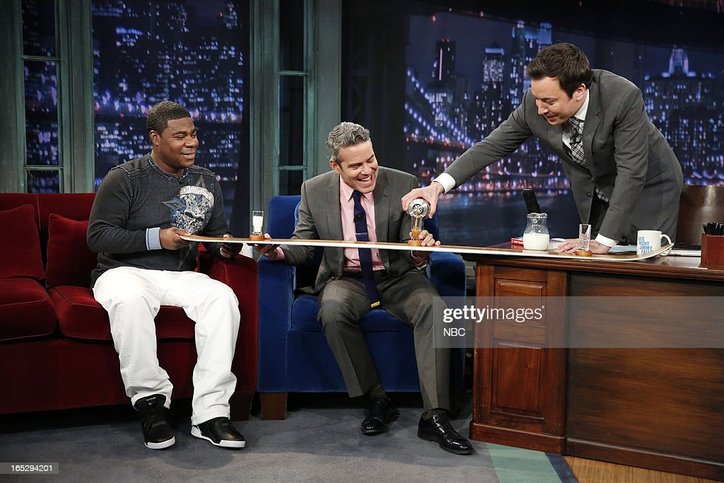 Actor/comedian <a gi-track='captionPersonalityLinkClicked' href=/galleries/search?phrase=Tracy+Morgan&family=editorial&specificpeople=182428 ng-click='$event.stopPropagation()'>Tracy Morgan</a>, talk show host Andy Cohen and host Jimmy Fallon during a skit on April 2, 2013 --