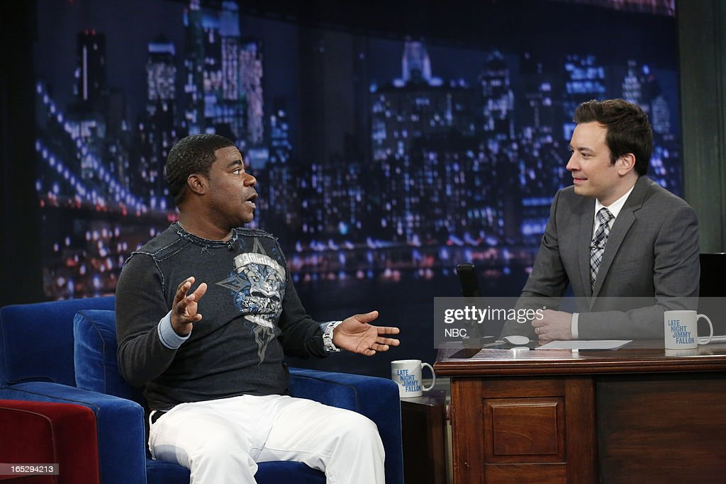 Actor/comedian <a gi-track='captionPersonalityLinkClicked' href=/galleries/search?phrase=Tracy+Morgan&family=editorial&specificpeople=182428 ng-click='$event.stopPropagation()'>Tracy Morgan</a> with host Jimmy Fallon during an interview on April 2, 2013 --