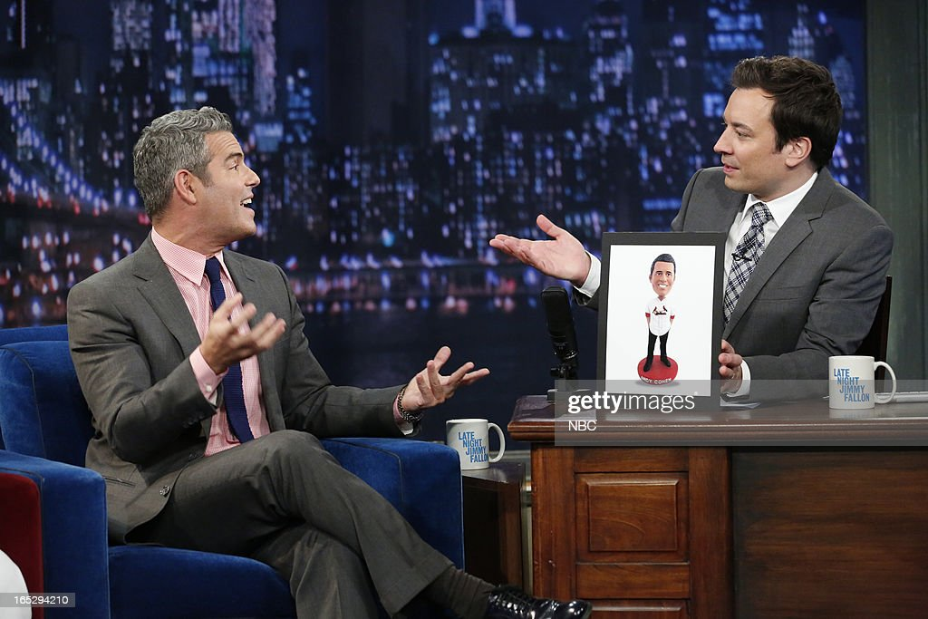 Talk show host Andy Cohen with host Jimmy Fallon during an interview on April 2, 2013 --