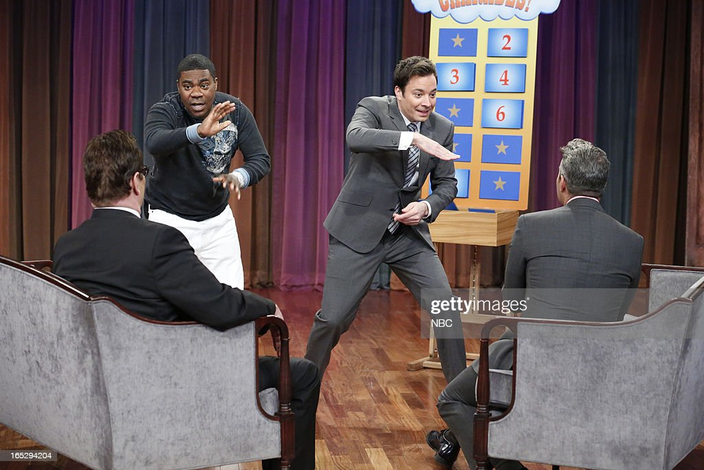 <a gi-track='captionPersonalityLinkClicked' href=/galleries/search?phrase=Tracy+Morgan&family=editorial&specificpeople=182428 ng-click='$event.stopPropagation()'>Tracy Morgan</a>, Steve Higgins, host Jimmy Fallon and Andy Cohen during a skit on April 2, 2013 --