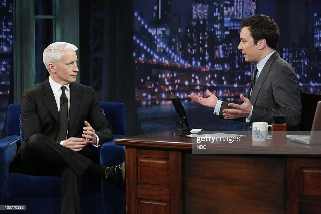 <a gi-track='captionPersonalityLinkClicked' href=/galleries/search?phrase=Anderson+Cooper&family=editorial&specificpeople=226776 ng-click='$event.stopPropagation()'>Anderson Cooper</a> with host Jimmy Fallon during an interview on April 5, 2013 --
