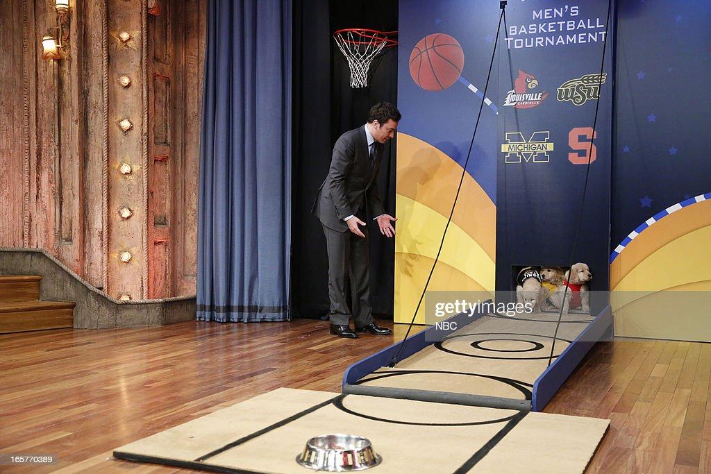 Host Jimmy Fallon during a skit on April 5, 2013 --