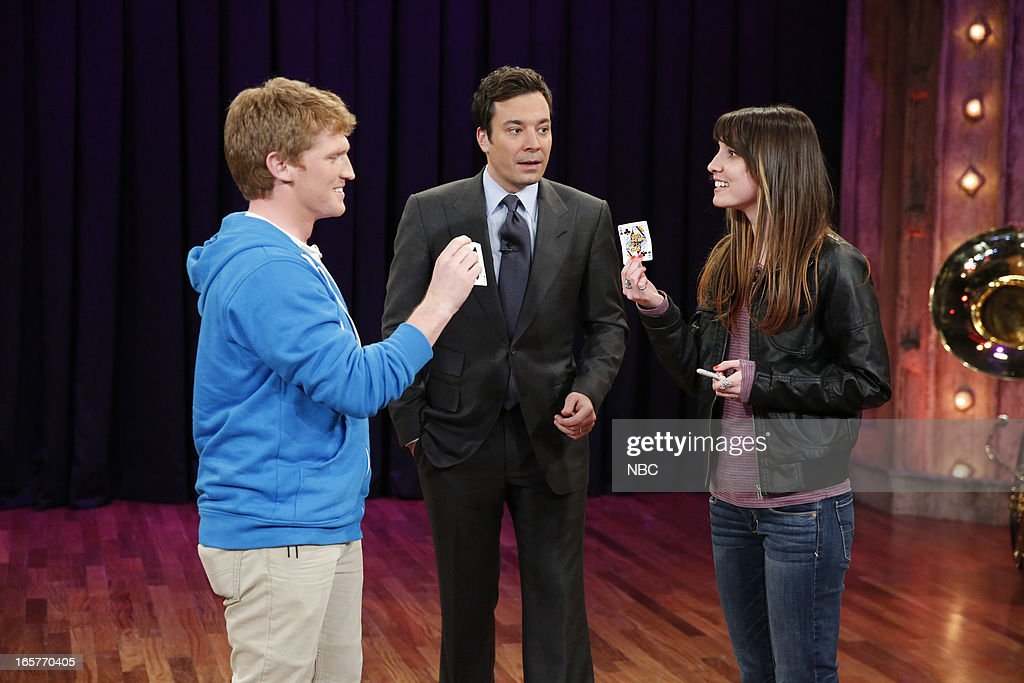 Stuart Edge with host Jimmy Fallon during a skit on April 5, 2013 --