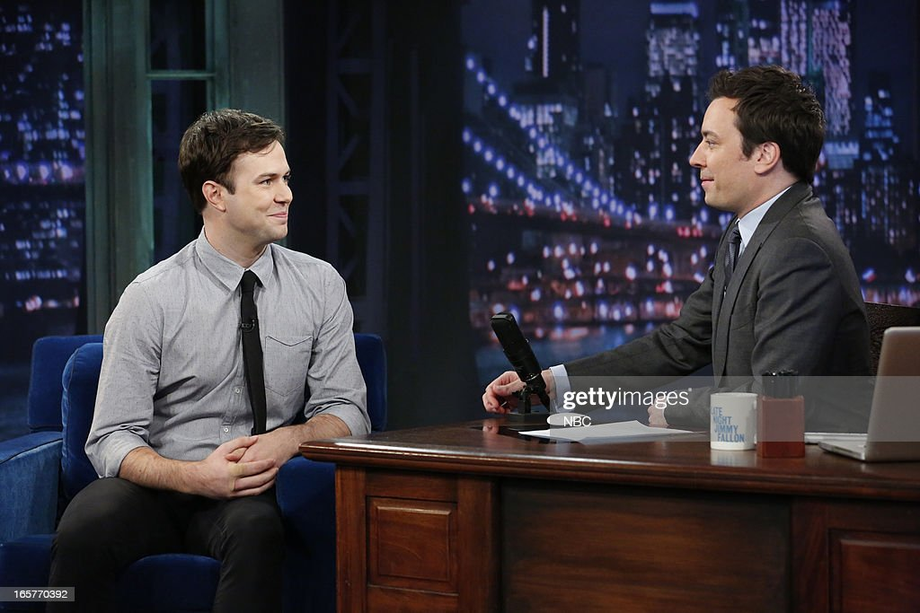 Taran Killam with host Jimmy Fallon during an interview on April 5, 2013 --