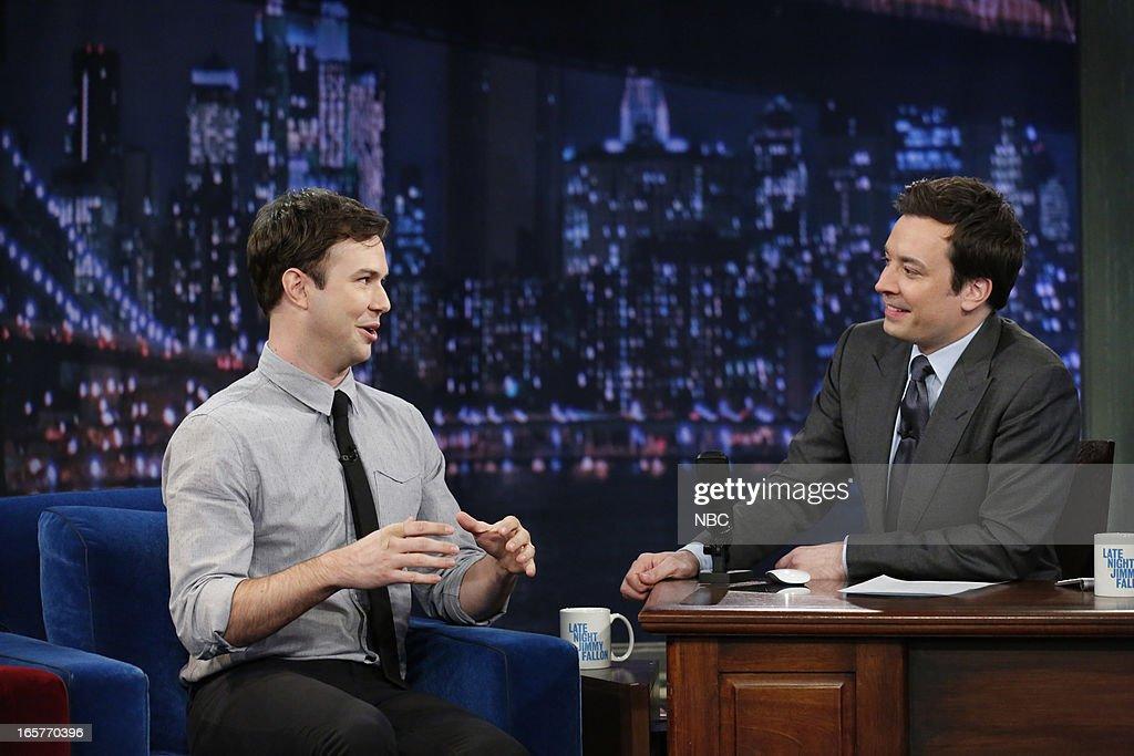 Taran Killam with host Jimmy Fallon during an interview on April 5, 2013 --