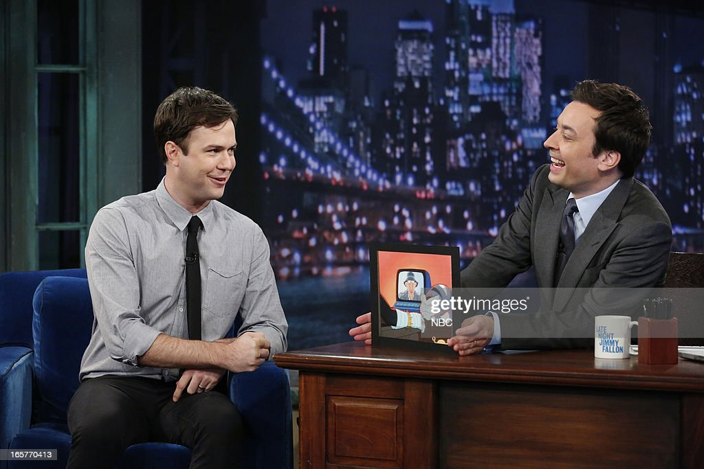 <a gi-track='captionPersonalityLinkClicked' href=/galleries/search?phrase=Taran+Killam&family=editorial&specificpeople=3798325 ng-click='$event.stopPropagation()'>Taran Killam</a> with host Jimmy Fallon during an interview on April 5, 2013 --