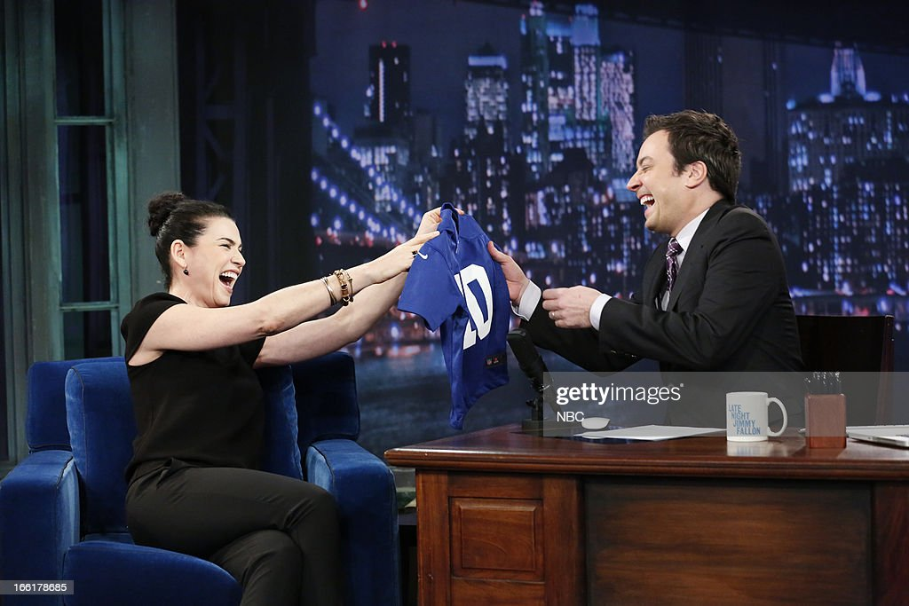 Actress Julianna Margulies with host Jimmy Fallon during an interview on April 9, 2013 --