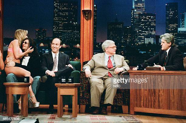 Adult film actress Janine Lindemulder radio personality Howard Stern and film critics Gene Siskel and Roger Ebert during an interview with host Jay...