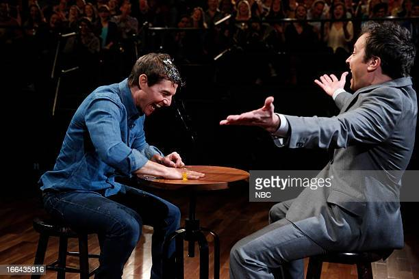 Tom Cruise with host Jimmy Fallon during a skit on April 12 2013