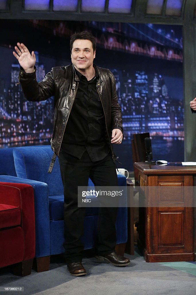Adam Ferrara with host <a gi-track='captionPersonalityLinkClicked' href=/galleries/search?phrase=Jimmy+Fallon&family=editorial&specificpeople=171520 ng-click='$event.stopPropagation()'>Jimmy Fallon</a> during an interview on April 23, 2013 --