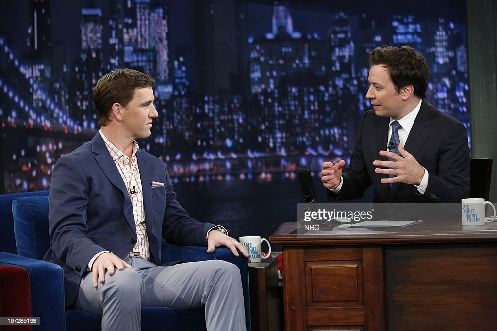 Eli Manning with host Jimmy Fallon during an interview on April 23, 2013 --