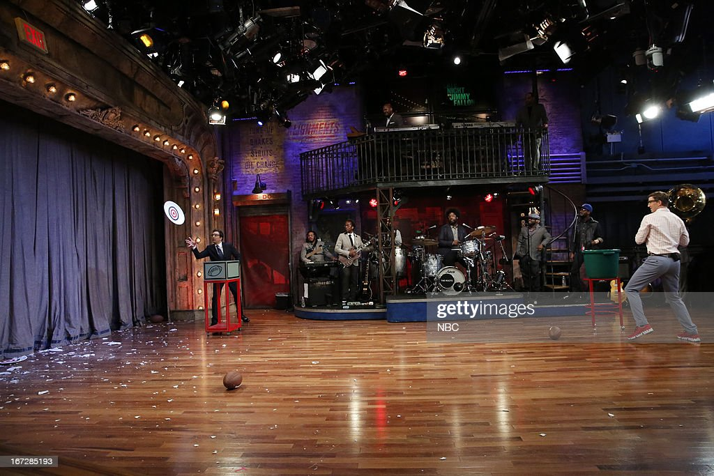 Host Jimmy Fallon, The Roots and Eli Manning during a skit on April 23, 2013 --