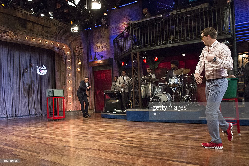 Host Jimmy Fallon with Eli Manning during a skit on April 23, 2013 --