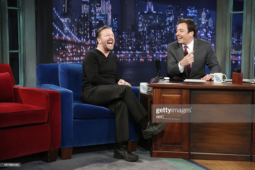 Ricky Gervais with host Jimmy Fallon during an interview on April 24, 2013 --