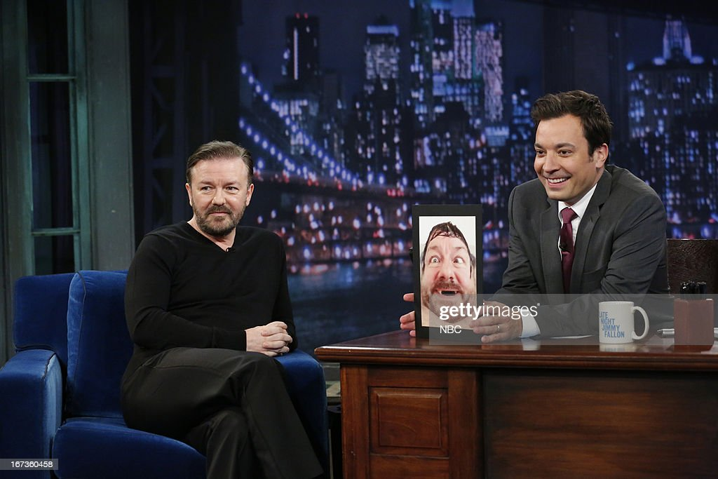 <a gi-track='captionPersonalityLinkClicked' href=/galleries/search?phrase=Ricky+Gervais&family=editorial&specificpeople=209237 ng-click='$event.stopPropagation()'>Ricky Gervais</a> with host Jimmy Fallon during an interview on April 24, 2013 --