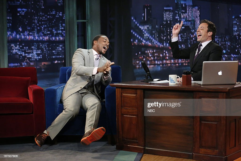 Anthony Mackie with host Jimmy Fallon during an interview on April 25, 2013 --