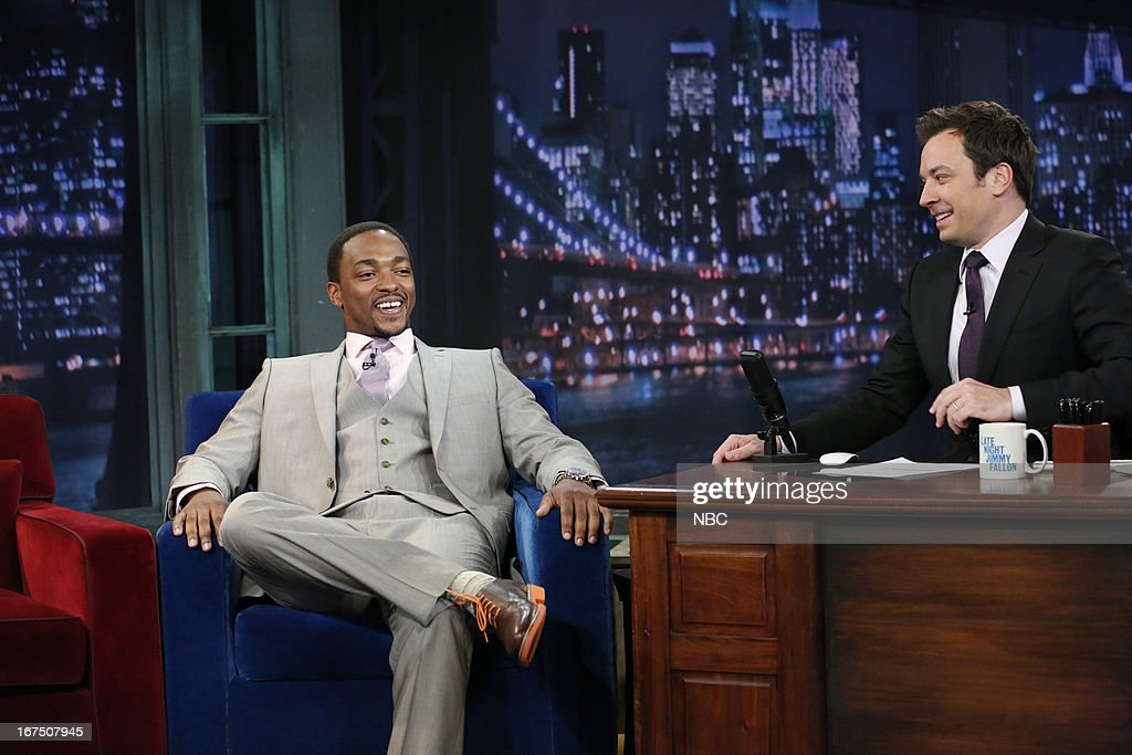 <a gi-track='captionPersonalityLinkClicked' href=/galleries/search?phrase=Anthony+Mackie&family=editorial&specificpeople=206212 ng-click='$event.stopPropagation()'>Anthony Mackie</a> with host Jimmy Fallon during an interview on April 25, 2013 --