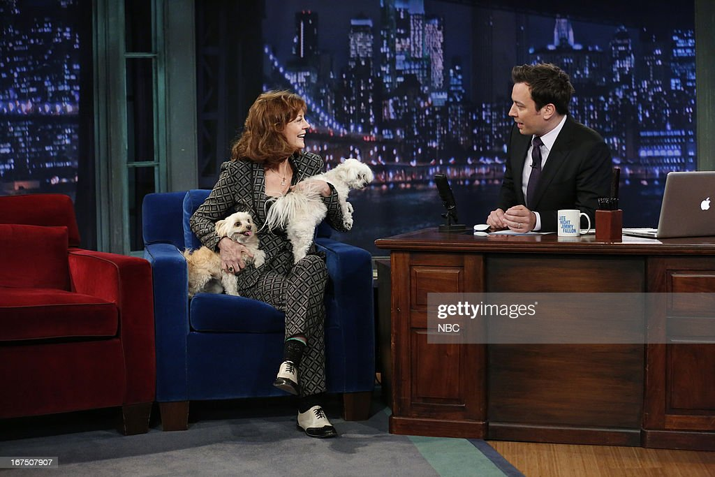 <a gi-track='captionPersonalityLinkClicked' href=/galleries/search?phrase=Susan+Sarandon&family=editorial&specificpeople=202474 ng-click='$event.stopPropagation()'>Susan Sarandon</a> with host Jimmy Fallon during an interview on April 25, 2013 --