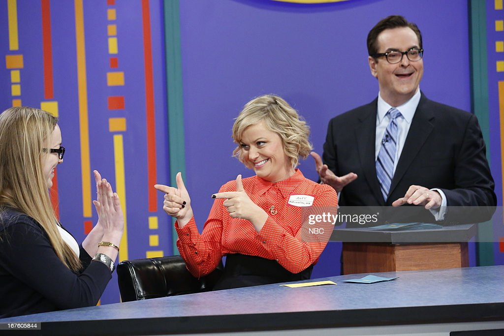 Contestant, <a gi-track='captionPersonalityLinkClicked' href=/galleries/search?phrase=Amy+Poehler&family=editorial&specificpeople=228430 ng-click='$event.stopPropagation()'>Amy Poehler</a> and Steve Higgins during a skit on April 26, 2013 --
