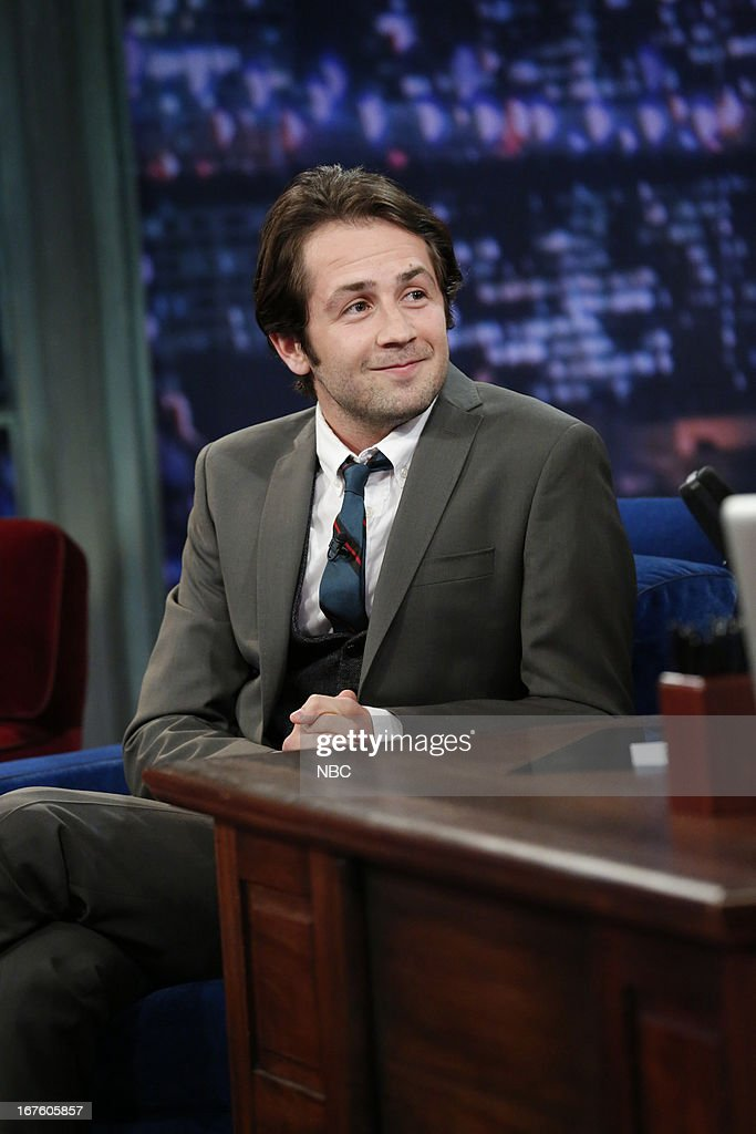 <a gi-track='captionPersonalityLinkClicked' href=/galleries/search?phrase=Michael+Angarano&family=editorial&specificpeople=226743 ng-click='$event.stopPropagation()'>Michael Angarano</a> with host Jimmy Fallon during an interview on April 26, 2013 --