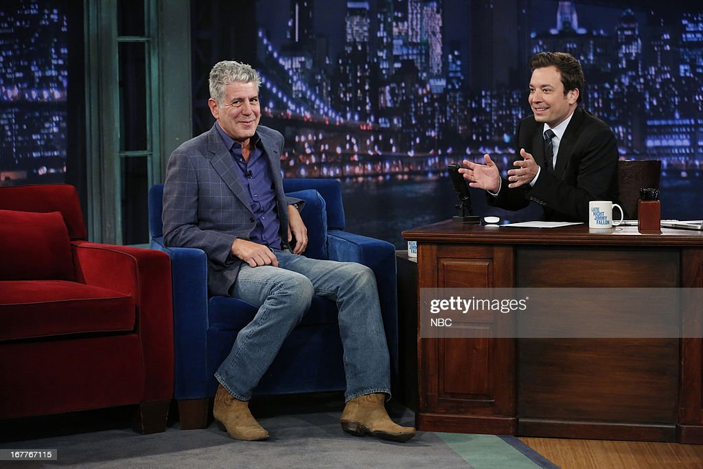 <a gi-track='captionPersonalityLinkClicked' href=/galleries/search?phrase=Anthony+Bourdain&family=editorial&specificpeople=2310617 ng-click='$event.stopPropagation()'>Anthony Bourdain</a> with host Jimmy Fallon during an interview on 4/29/13 --