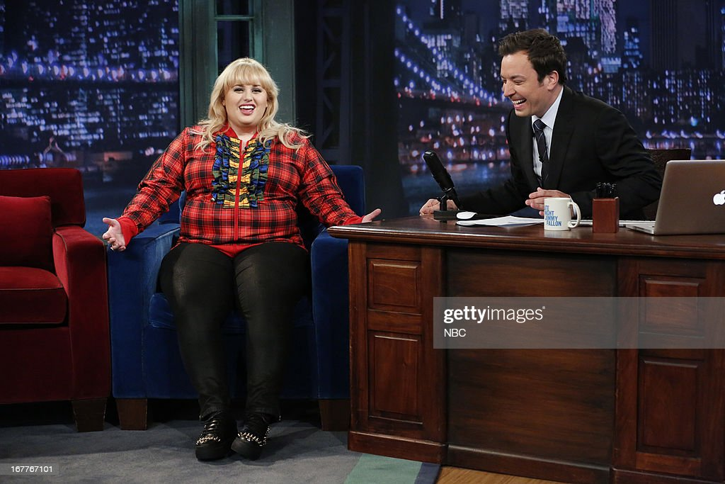 Rebel Wilson with host Jimmy Fallon during an interview on 4/29/13 --