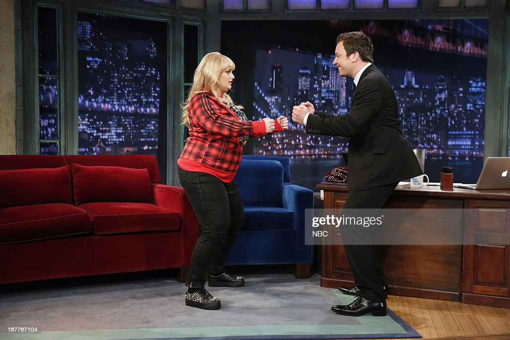 <a gi-track='captionPersonalityLinkClicked' href=/galleries/search?phrase=Rebel+Wilson&family=editorial&specificpeople=5563104 ng-click='$event.stopPropagation()'>Rebel Wilson</a> with host Jimmy Fallon during an interview on 4/29/13 --