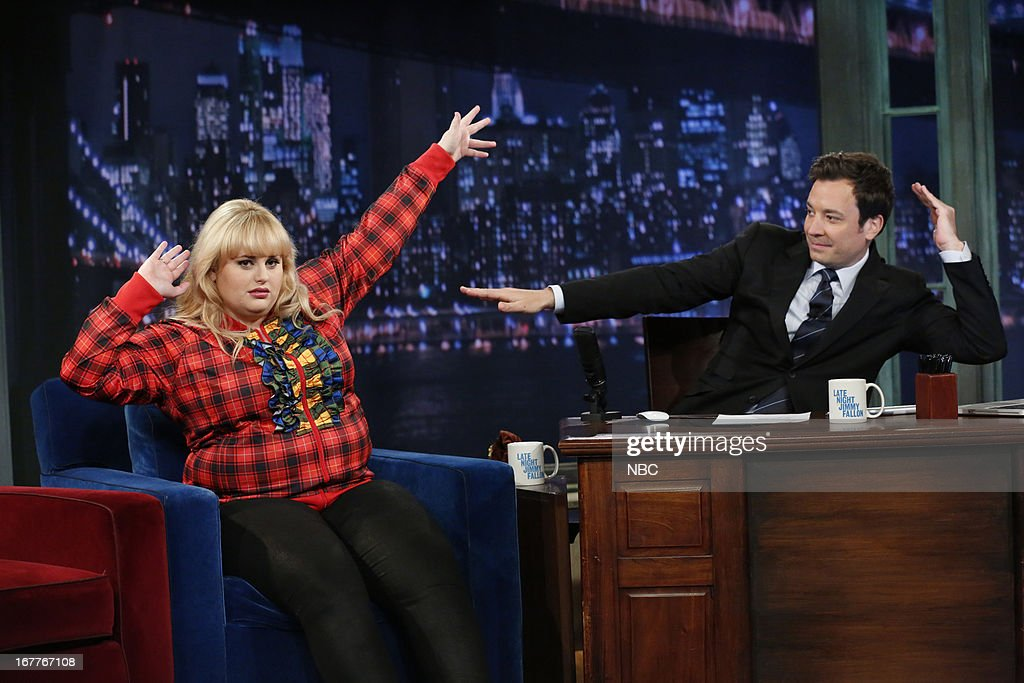 <a gi-track='captionPersonalityLinkClicked' href=/galleries/search?phrase=Rebel+Wilson&family=editorial&specificpeople=5563104 ng-click='$event.stopPropagation()'>Rebel Wilson</a> with host <a gi-track='captionPersonalityLinkClicked' href=/galleries/search?phrase=Jimmy+Fallon&family=editorial&specificpeople=171520 ng-click='$event.stopPropagation()'>Jimmy Fallon</a> during an interview on 4/29/13 --