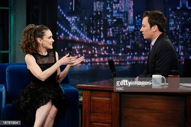 Actress Winona Ryder with host Jimmy Fallon during an interview on April 30 2013