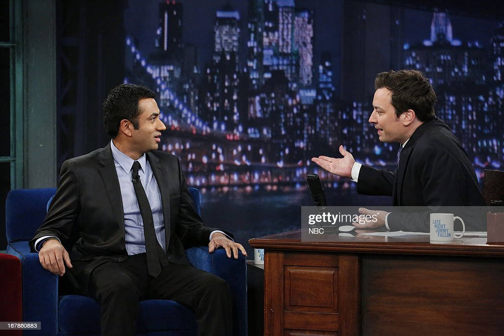 <a gi-track='captionPersonalityLinkClicked' href=/galleries/search?phrase=Kal+Penn&family=editorial&specificpeople=204700 ng-click='$event.stopPropagation()'>Kal Penn</a> with host Jimmy Fallon during an interview on May 1, 2013 --
