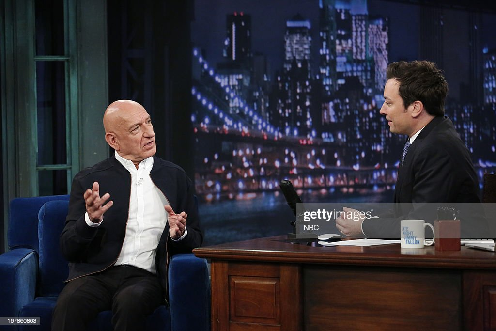 <a gi-track='captionPersonalityLinkClicked' href=/galleries/search?phrase=Sir+Ben+Kingsley&family=editorial&specificpeople=699878 ng-click='$event.stopPropagation()'>Sir Ben Kingsley</a> with host Jimmy Fallon during an interview on May 1, 2013 --