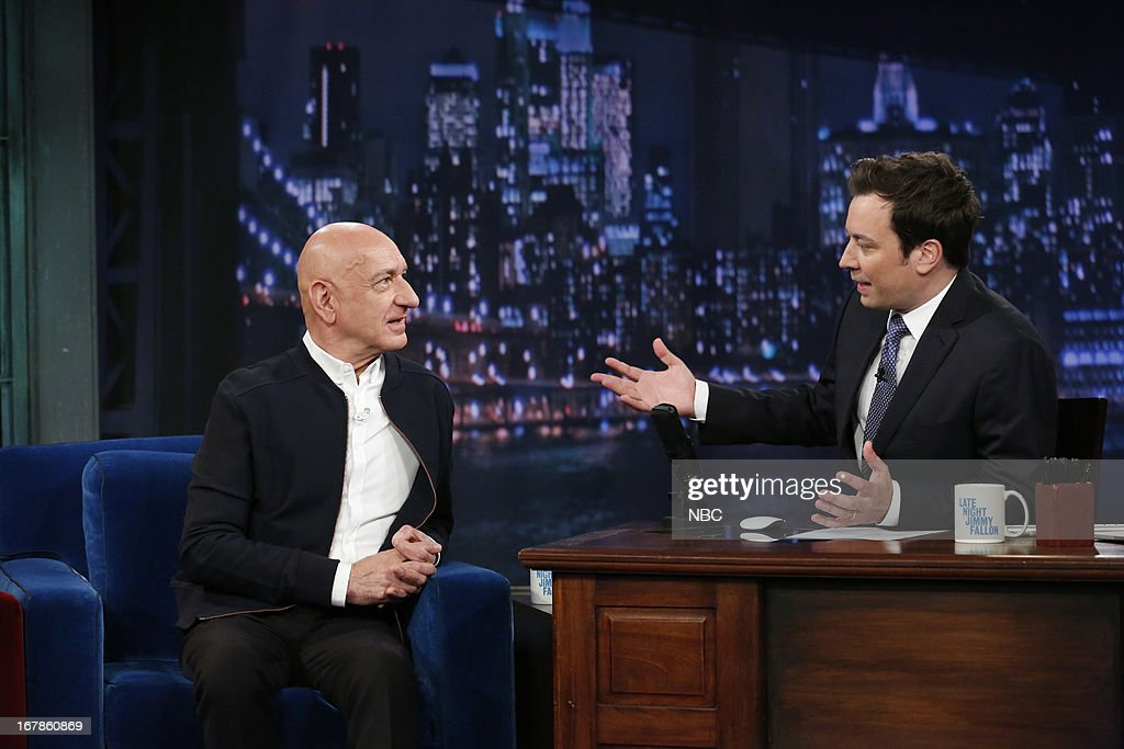 Sir Ben Kingsley with host Jimmy Fallon during an interview on May 1, 2013 --