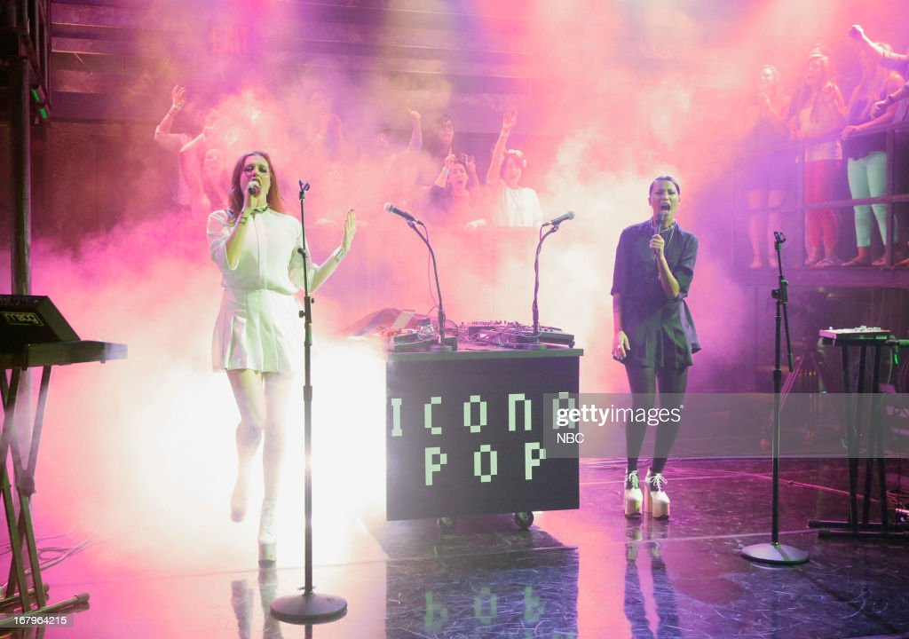 Musical guests Caroline Hjelt and Aino Jawo of Icona Pop perform on May 2, 2013 --