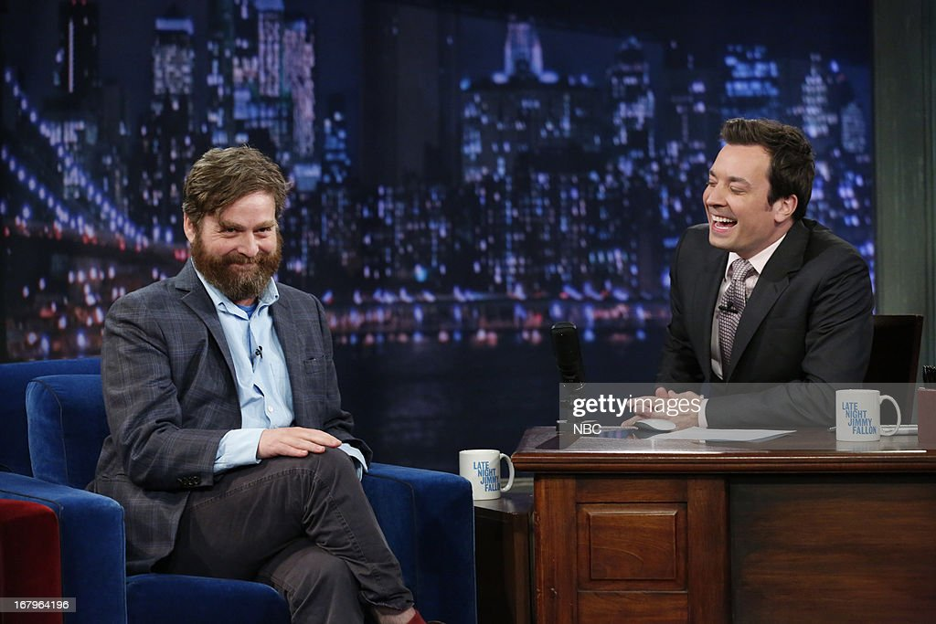 Zach Galifianakis with host Jimmy Fallon during an interview on May 2, 2013 --