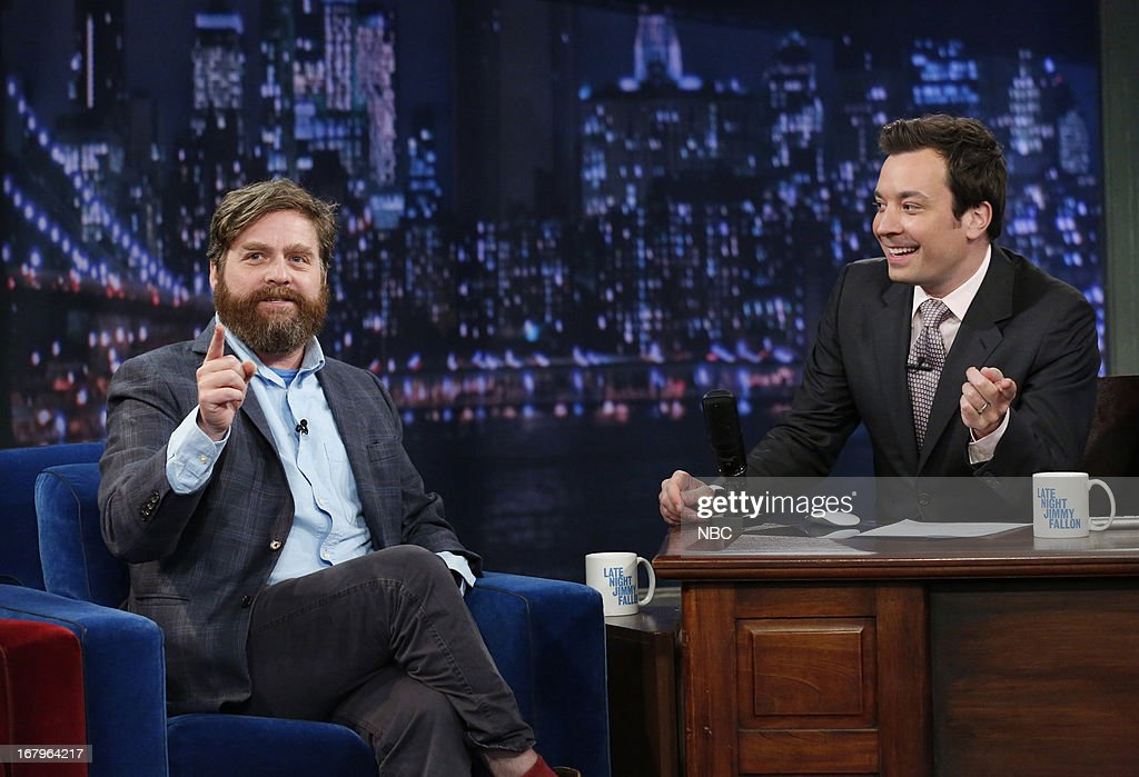 <a gi-track='captionPersonalityLinkClicked' href=/galleries/search?phrase=Zach+Galifianakis&family=editorial&specificpeople=2154769 ng-click='$event.stopPropagation()'>Zach Galifianakis</a> with host Jimmy Fallon during an interview on May 2, 2013 --
