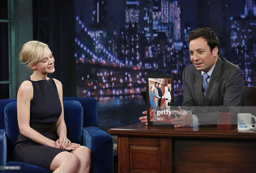 <a gi-track='captionPersonalityLinkClicked' href=/galleries/search?phrase=Carey+Mulligan&family=editorial&specificpeople=2262681 ng-click='$event.stopPropagation()'>Carey Mulligan</a> with host Jimmy Fallon during an interview on May 3, 2013 --