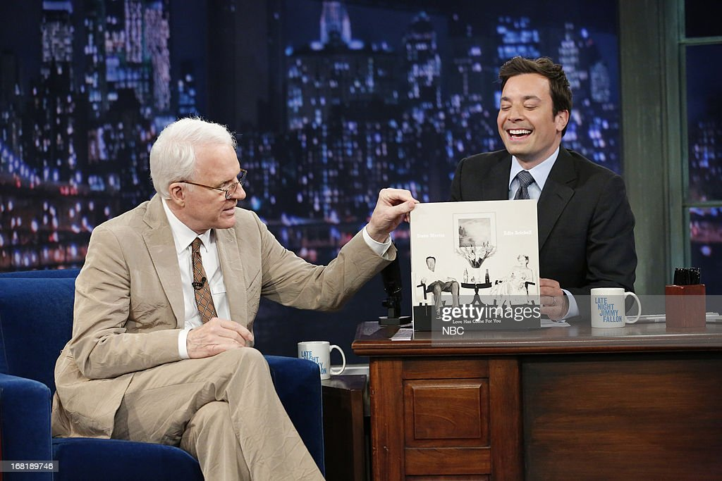 Actor/comedian/musician <a gi-track='captionPersonalityLinkClicked' href=/galleries/search?phrase=Steve+Martin&family=editorial&specificpeople=196544 ng-click='$event.stopPropagation()'>Steve Martin</a> with host Jimmy Fallon during an interview on May 6, 2013 --