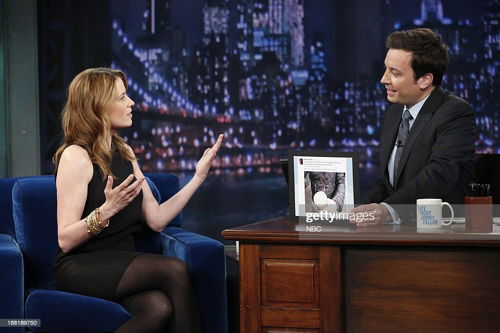 Actress <a gi-track='captionPersonalityLinkClicked' href=/galleries/search?phrase=Jenna+Fischer&family=editorial&specificpeople=274744 ng-click='$event.stopPropagation()'>Jenna Fischer</a> with host Jimmy Fallon during an interview on May 6, 2013 --