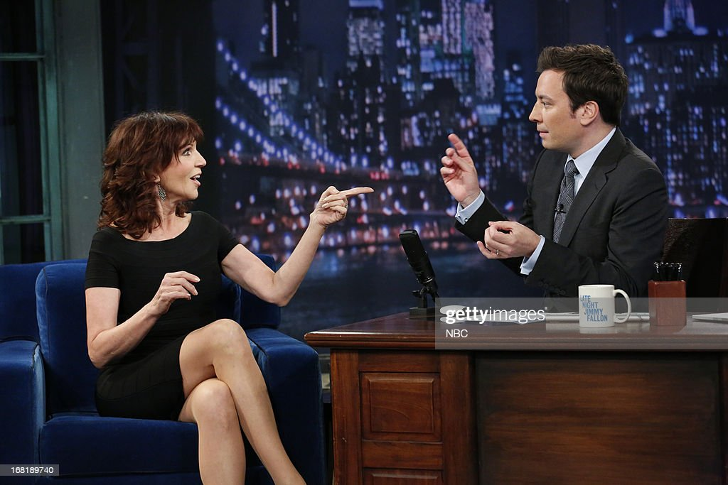 Actress <a gi-track='captionPersonalityLinkClicked' href=/galleries/search?phrase=Marilu+Henner&family=editorial&specificpeople=213140 ng-click='$event.stopPropagation()'>Marilu Henner</a> with host Jimmy Fallon during an interview on May 6, 2013 --