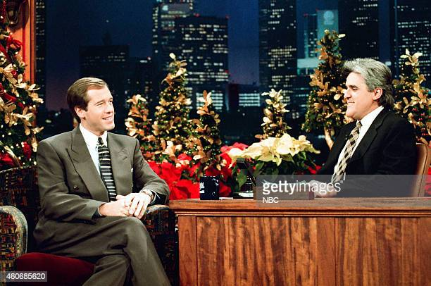News anchor Brian Williams during an interview with host Jay Leno on December 19 1995