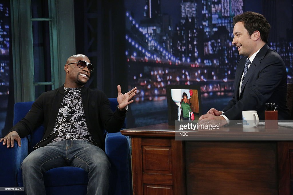 Floyd?Mayweather with host Jimmy Fallon during an interview on May 7, 2013 --