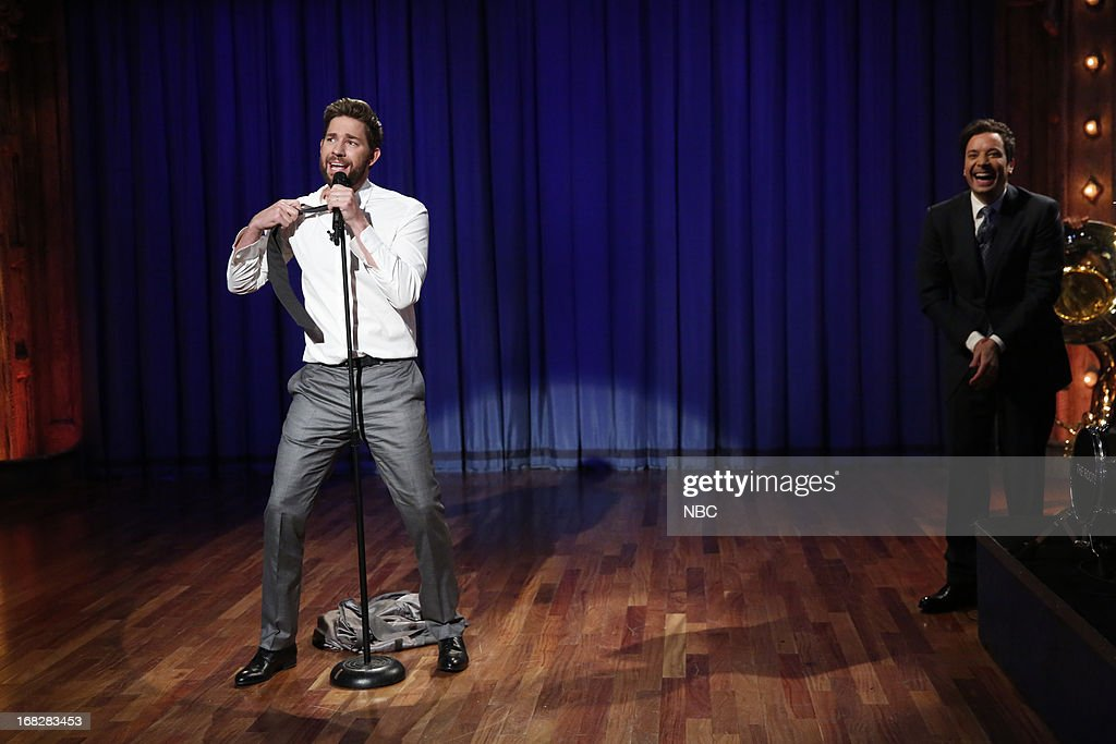 John Krasinski and host Jimmy Fallon take turns lip syncing classics from Katy Perry, Boyz II Men and others on May 7, 2013 --