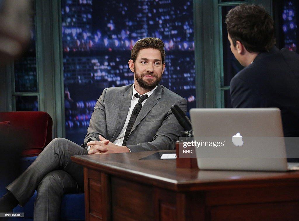John Krasinski with host Jimmy Fallon during an interview on May 7, 2013 --