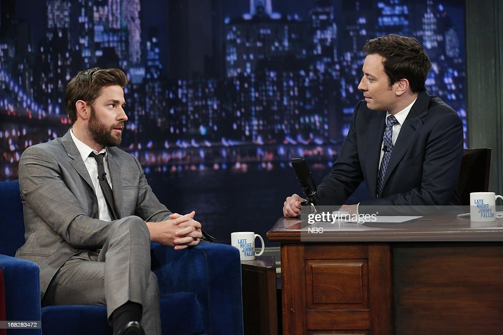 <a gi-track='captionPersonalityLinkClicked' href=/galleries/search?phrase=John+Krasinski&family=editorial&specificpeople=646194 ng-click='$event.stopPropagation()'>John Krasinski</a> with host Jimmy Fallon during an interview on May 7, 2013 --