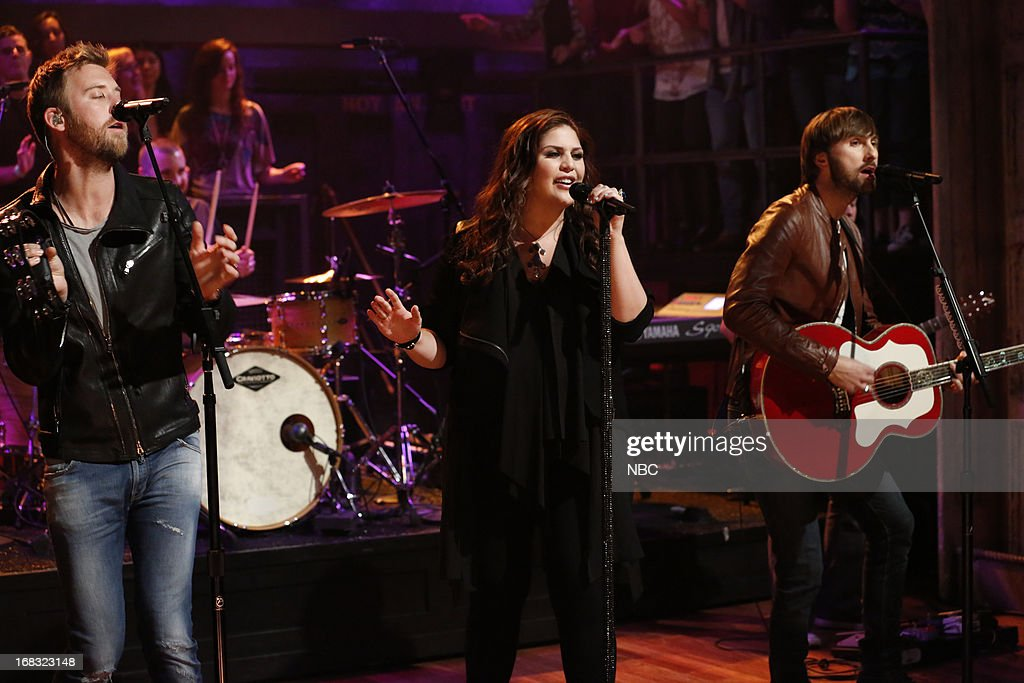 Musical guests <a gi-track='captionPersonalityLinkClicked' href=/galleries/search?phrase=Charles+Kelley&family=editorial&specificpeople=3935435 ng-click='$event.stopPropagation()'>Charles Kelley</a>, Hillary Scott, <a gi-track='captionPersonalityLinkClicked' href=/galleries/search?phrase=Dave+Haywood&family=editorial&specificpeople=4620526 ng-click='$event.stopPropagation()'>Dave Haywood</a> of Lady Antebellum perform on May 8, 2013 --
