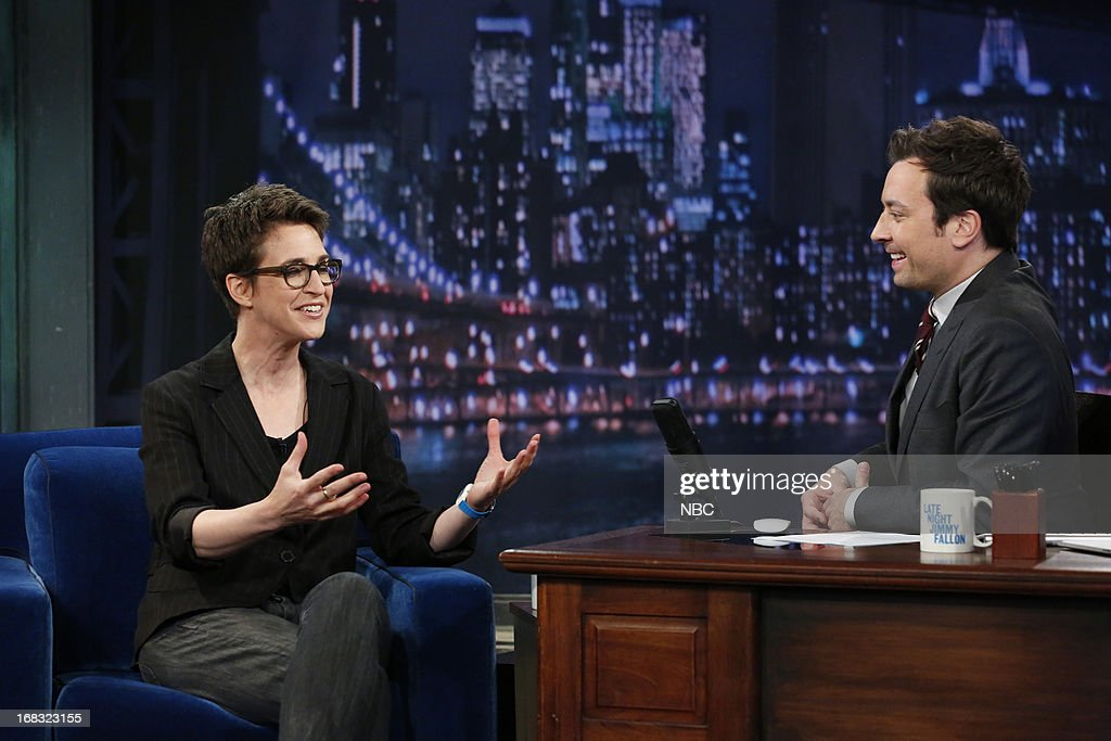 <a gi-track='captionPersonalityLinkClicked' href=/galleries/search?phrase=Rachel+Maddow&family=editorial&specificpeople=5590128 ng-click='$event.stopPropagation()'>Rachel Maddow</a> with host Jimmy Fallon during an interview on May 8, 2013 --