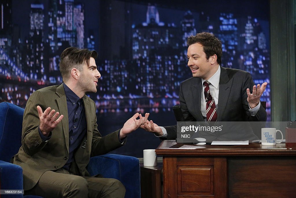 <a gi-track='captionPersonalityLinkClicked' href=/galleries/search?phrase=Zachary+Quinto&family=editorial&specificpeople=715956 ng-click='$event.stopPropagation()'>Zachary Quinto</a> with host Jimmy Fallon during an interview on May 8, 2013 --