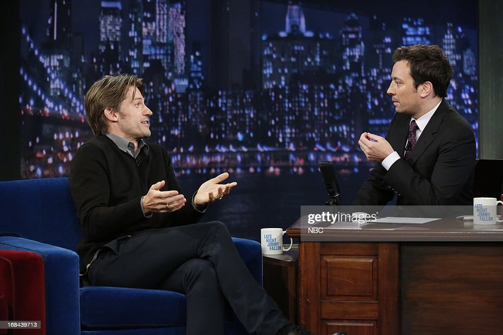 Actor Nikolaj Coster-Waldau with host Jimmy Fallon during an interview on May 9, 2013 --