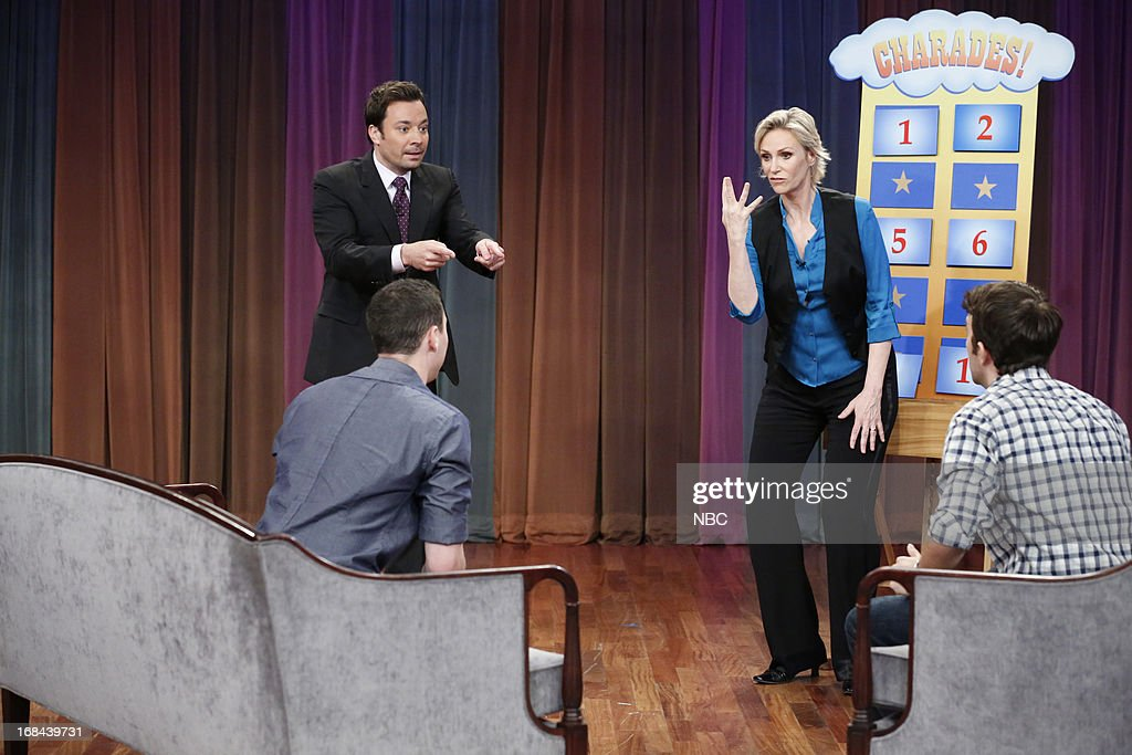 Host Jimmy Fallon with <a gi-track='captionPersonalityLinkClicked' href=/galleries/search?phrase=Jane+Lynch&family=editorial&specificpeople=663918 ng-click='$event.stopPropagation()'>Jane Lynch</a> and audience members during a skit on May 9, 2013 --